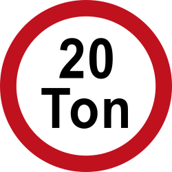 Traffic sign of Colombia: Vehicles heavier than indicated prohibited