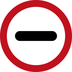 Traffic sign of Colombia: Entry prohibited (checkpoint)