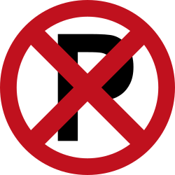 Traffic sign of Colombia: Parking and stopping prohibited