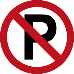 Traffic sign of Colombia: Parking prohibited