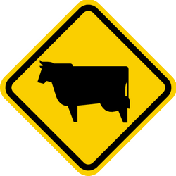 Traffic sign of Colombia: Warning for cattle on the road