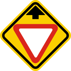Traffic sign of Colombia: Give way ahead