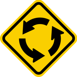 Traffic sign of Colombia: Warning for a roundabout