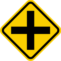 Traffic sign of Colombia: Warning for an uncontrolled crossroad