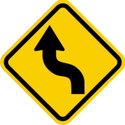 Traffic sign of Colombia: Warning for a double curve, first left then right