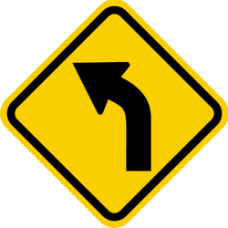 Traffic sign of Colombia: Warning for a curve to the left