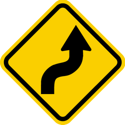 Traffic sign of Colombia: Warning for a double curve, first right then left