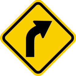 Traffic sign of Colombia: Warning for a curve to the right
