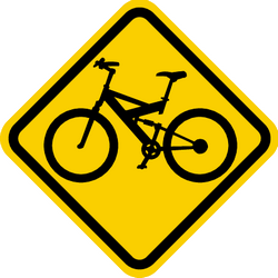Traffic sign of Colombia: Warning for cyclists