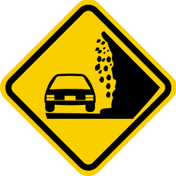 Traffic sign of Colombia: Warning for falling rocks