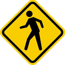 Traffic sign of Colombia: Warning for pedestrians