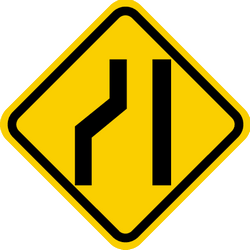 Traffic sign of Colombia: Warning for a road narrowing on the left