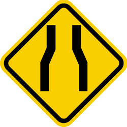 Traffic sign of Colombia: Warning for a road narrowing