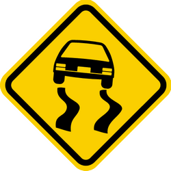 Traffic sign of Colombia: Warning for a slippery road surface