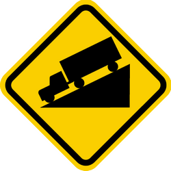 Traffic sign of Colombia: Warning for a steep descent