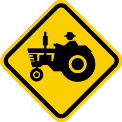 Traffic sign of Colombia: Warning for tractors