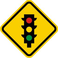 Traffic sign of Colombia: Warning for a traffic light
