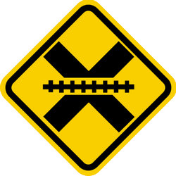 Traffic sign of Colombia: Warning for a railroad crossing without barriers