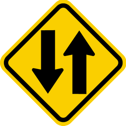 Traffic sign of Colombia: Warning for a road with two-way traffic