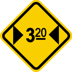 Traffic sign of Colombia: Warning for a limited width