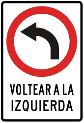 Traffic sign of Peru: Turning left mandatory