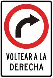Traffic sign of Peru: Turning right mandatory