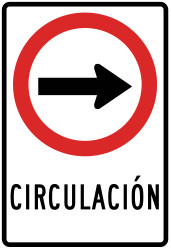 Traffic sign of Peru: Mandatory right