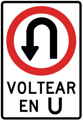 Traffic sign of Peru: Turning around mandatory (U-turn)