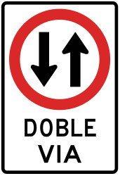 Traffic sign of Peru: Road with two-way traffic