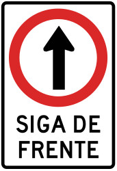 Traffic sign of Peru: Driving straight ahead mandatory