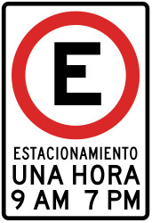 Traffic sign of Peru: Mandatory parking spot