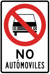 Traffic sign of Peru: Cars prohibited