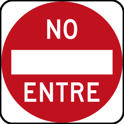 Traffic sign of Peru: Entry prohibited (road with one-way traffic)