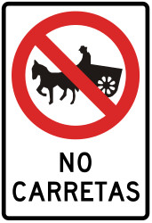 Traffic sign of Peru: Horsecarts prohibited