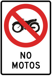 Traffic sign of Peru: Motorcycles prohibited