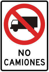 Traffic sign of Peru: Trucks prohibited