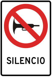 Traffic sign of Peru: Using the horn prohibited