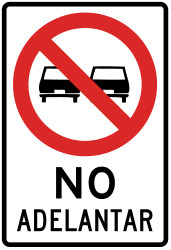Traffic sign of Peru: Overtaking prohibited