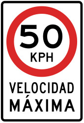 Traffic sign of Peru: Begin of a speed limit