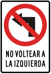 Traffic sign of Peru: Turning left prohibited