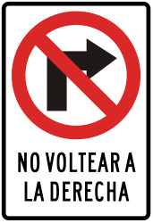 Traffic sign of Peru: Turning right prohibited