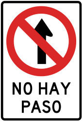 Traffic sign of Peru: Driving straight ahead prohibited