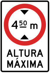 Traffic sign of Peru: Vehicles higher than indicated prohibited