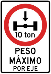 Traffic sign of Peru: Vehicles with an axle weight heavier than indicated prohibited