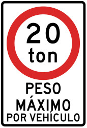 Traffic sign of Peru: Vehicles heavier than indicated prohibited