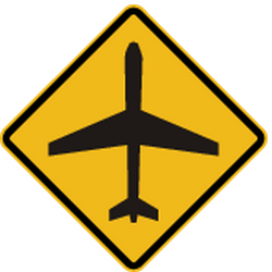 Traffic sign of Peru: Warning for low-flying aircrafts