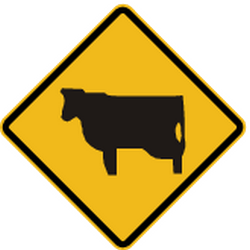 Traffic sign of Peru: Warning for cattle on the road