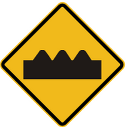 Traffic sign of Peru: Warning for a bad road surface