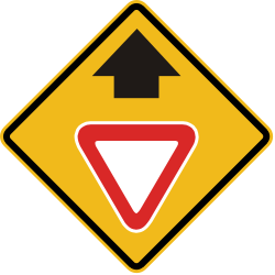 Traffic sign of Peru: Give way ahead