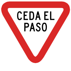 Traffic sign of Peru: Give way to all drivers